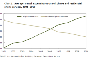 IELTS Writing Task 1 - Average annual expenditures on cell phone