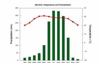 IELTS Writing Task 1 - Monthly temperature and precipitation